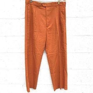 Vintage Burnt Orange Linen Blend Autumn Trousers